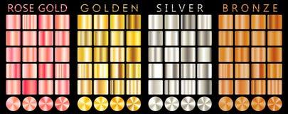 罗斯金子,金黄,银色,古铜色梯度,样式,模板 套设计的,优质梯度的汇集颜色 金属 向量例证