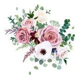 罗斯,银莲花属,苍白花导航设计婚礼花束 皇族释放例证