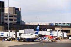 罗根国际机场在波士顿 免版税库存照片