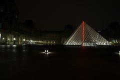 罗浮宫金字塔和喷泉夜 免版税库存图片
