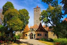罗滕堡在德国,城堡门 库存照片
