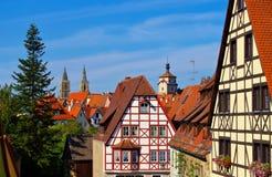 罗滕堡在德国,用木材建造的房子 图库摄影