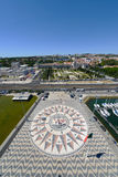 罗盘和Mappa穆恩迪,贝拉母,里斯本,葡萄牙 库存图片