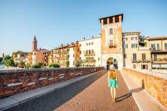 维罗纳都市风景视图 免版税库存图片