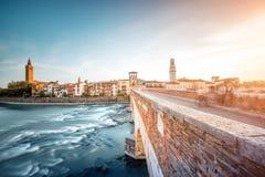 维罗纳都市风景视图 库存图片