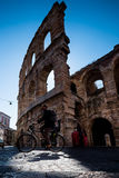 维罗纳,意大利- 2017年4月04日:竞技场,维罗纳, Vene都市风景  库存照片