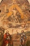 维罗纳-复活的基督细节从st Erasmus的Nicolaus Julfinus atar在圣诞老人阿纳斯塔西娅教会 免版税库存图片