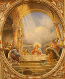 维罗纳-最后的晚餐壁画在教会圣诞老人Eufemia里 图库摄影