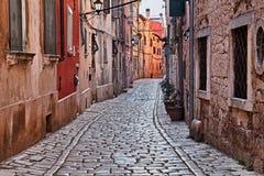 罗维尼, Istria,克罗地亚:古老胡同在老镇 免版税库存图片