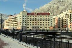 罗莎的Hkutor Krasnaya Polyana旅馆拉迪森 免版税图库摄影