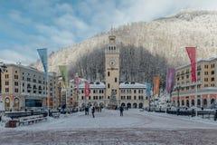 罗莎Khutor,索契,俄罗斯, 2016年12月17日:在山的冬天 免版税库存图片