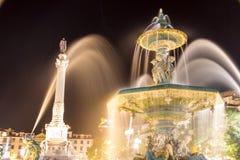 罗西乌广场或佩德罗IV正方形在里斯本 免版税库存图片