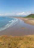 罗西里海滩最佳的海滩的Gower威尔士一在英国 库存图片