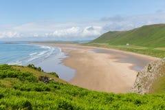 罗西里海滩Gower南威尔士一最佳的海滩在英国 免版税库存照片