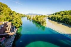 罗讷和阿尔沃河河合流,日内瓦- HDR 免版税图库摄影