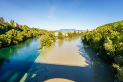 罗讷和阿尔沃河河合流,日内瓦- HDR 免版税库存照片