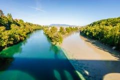 罗讷和阿尔沃河河合流,日内瓦- HDR 免版税库存图片
