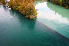 罗讷和阿尔沃河的连接点 免版税库存图片