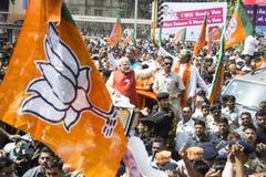 巴罗达, GUJARAT/INDIA - 2014年4月9日:Narendra Modi归档了他的从巴罗达人民院位子的提名资料 免版税图库摄影
