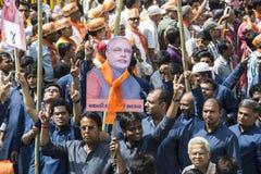 巴罗达, GUJARAT/INDIA - 2014年4月9日:Narendra Modi归档了他的从巴罗达人民院位子的提名资料 免版税库存照片
