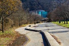 罗阿诺克由威里驱动,罗阿诺克,弗吉尼亚,美国的河林荫道路 免版税库存照片