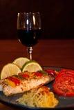 罗非鱼蕃茄和意大利粉南瓜 库存图片