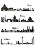罗马、巴黎、马德里和里斯本, b-w视域  图库摄影