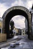 罗马凯旋门在梅里达 免版税库存照片