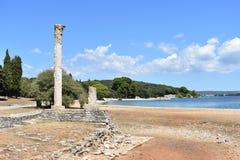 罗马别墅废墟在Brijuni海岛上的在亚得里亚海,克罗地亚 图库摄影