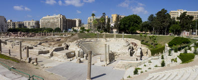 罗马剧院在亚历山大 免版税库存照片