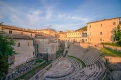 罗马剧院在斯波莱托 Teatro罗马di斯波莱托斯波莱托,Um 库存照片