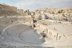 罗马剧院在阿曼,约旦 免版税库存图片