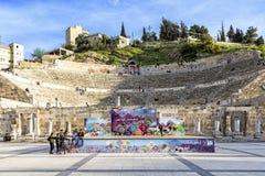罗马剧院如被看见从哈希姆家族广场在阿曼,约旦 免版税库存图片
