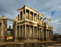 罗马剧院废墟在梅里达 免版税库存照片