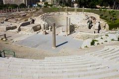 罗马剧院的圆形剧场在亚历山大 库存照片