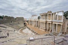 罗马剧院舞台在梅里达在西班牙 侧视图 免版税库存照片