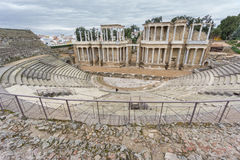 罗马剧院舞台在梅里达在西班牙 侧视图 库存图片
