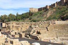 罗马剧院马拉加,西班牙 免版税图库摄影