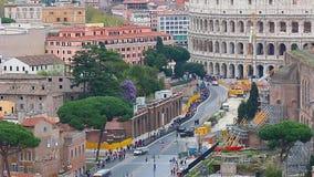 罗马和罗马斗兽场鸟瞰图从维托里奥Emmanuelle宫殿  影视素材