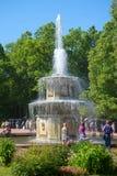 罗马喷泉在Peterhof更低的公园在晴朗的7月下午的 库存图片