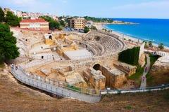 罗马圆形剧场。塔拉贡纳,西班牙 库存照片