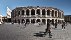 罗马圆形剧场叫Arena 1世纪A C 在维罗纳意大利- 09/03/2017 股票录像