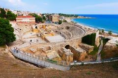 罗马圆形剧场在塔拉贡纳。西班牙 免版税库存图片