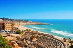 罗马圆形剧场在塔拉贡纳,西班牙 免版税库存图片