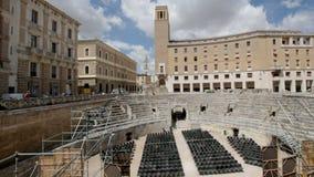 罗马圆形剧场在莱切,意大利 股票视频