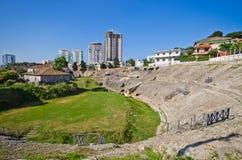 罗马圆形剧场在都拉斯,阿尔巴尼亚 免版税库存照片