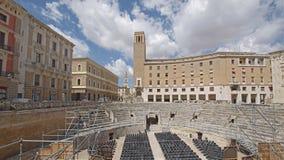 罗马圆形剧场时间间隔在莱切,意大利 股票录像