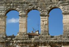 罗马圆形剧场,竞技场(colosseum)的看法普拉的,克罗地亚 免版税库存图片
