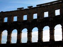 罗马圆形剧场细节普拉的克罗地亚 库存照片