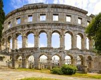 罗马圆形剧场& x28; arena& x29;在普拉 克罗地亚 库存照片